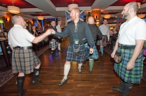Burns' Night celebrations at The Glass Works pub, in Islington, London, January