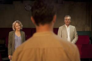 L-R Niamh Cusack (Sylvia), Tom Hughes (Simon) and Anthony Head (Edward) - Ticking - Trafalgar Studios 2 - Photo By Bronwen Sharp