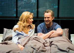 L-R Jennifer Mudge (Stephanie) & Matthew Perry (Jack) - The End Of Longing - Playhouse Theatre - Photo By Helen Maybanks (019)