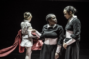 Laura Carmichael, Uzo Aduba and Zawe Ashton in The Maids CREDIT Marc Brenner