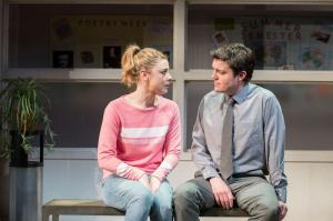 Lauren O'Neil (Steph) and Tom Burke (Greg) in Reasons to be Happy at Hampstead Theatre. Photos by Manuel Harlan. (1)
