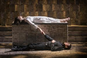 EMBARGOED UNTIL 21.30 BST 25 MAY 2016 KBTC_Romeo and Juliet_Garrick Theatre_Lily James (Juliet) and Richard Madden (Romeo)_Credit Johan Persson_06357